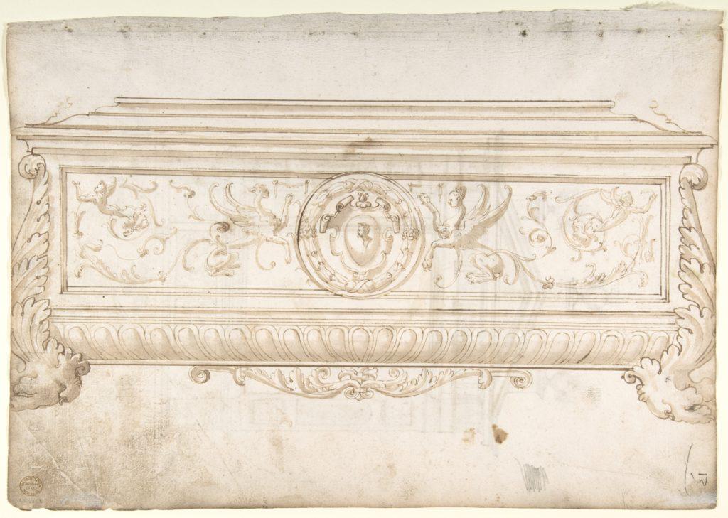 Design for a Cassone (Recto), Design for a Tomb (Verso)