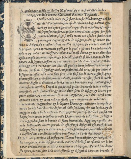 Essempio di recammi, title page (verso)