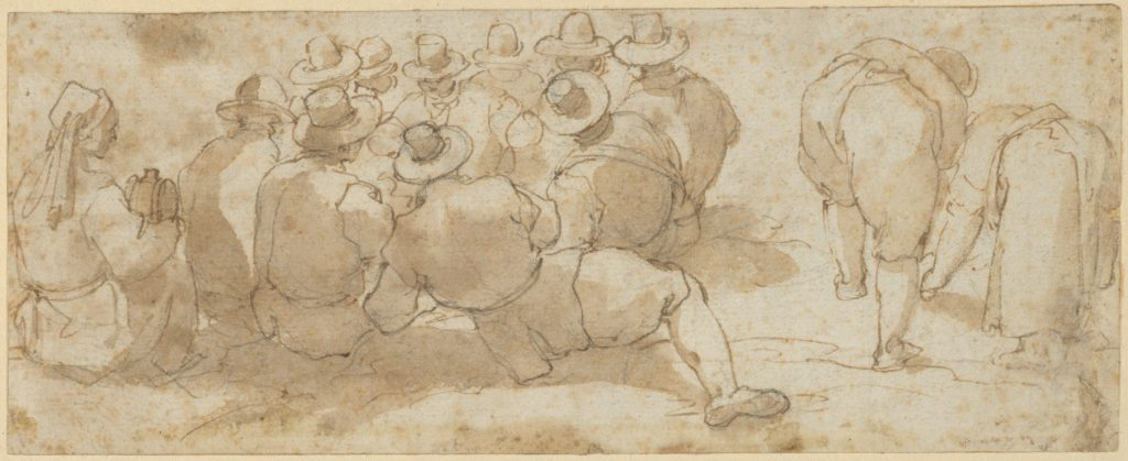 Group of Laborers in a Field (recto); Angel Appearing to a Kneeling Saint (verso)