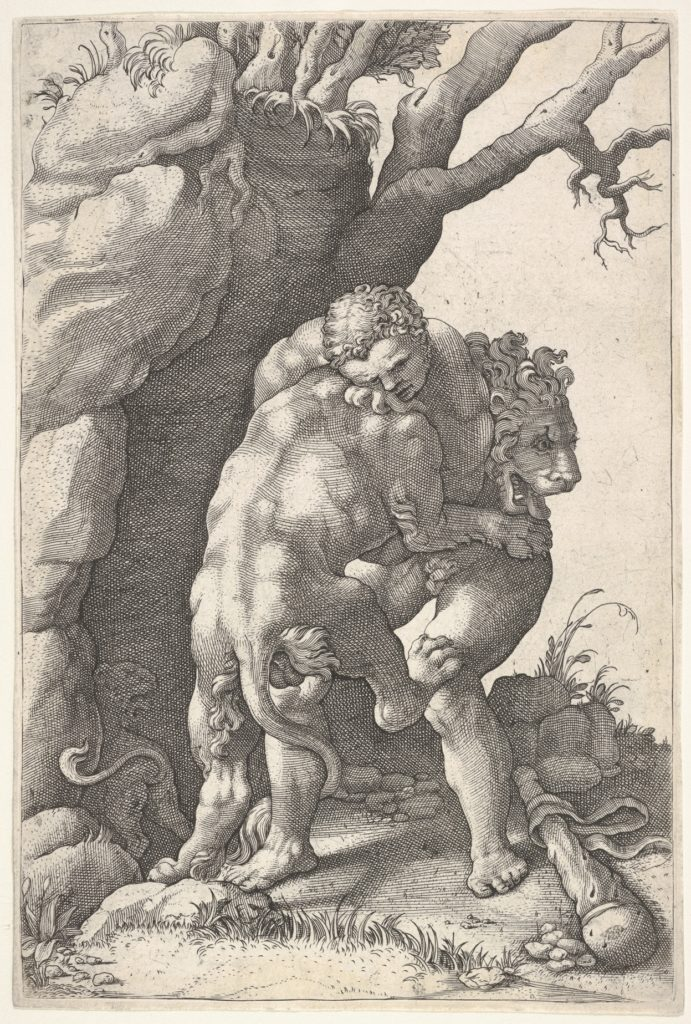 Hercules and the Nemean Lion: Hercules grasps the shoulders and chest of the lion, which is viewed from the back, beside a rocky outcrop