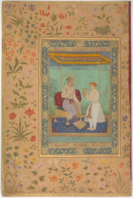 """Jahangir and His Vizier, I'timad al-Daula"", Folio from the Shah Jahan Album"