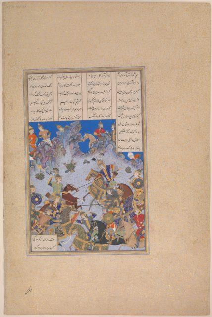 """""""Khusrau Parviz's Charge against Bahram Chubina"""", Folio 707v from the Shahnama (Book of Kings) of Shah Tahmasp"""
