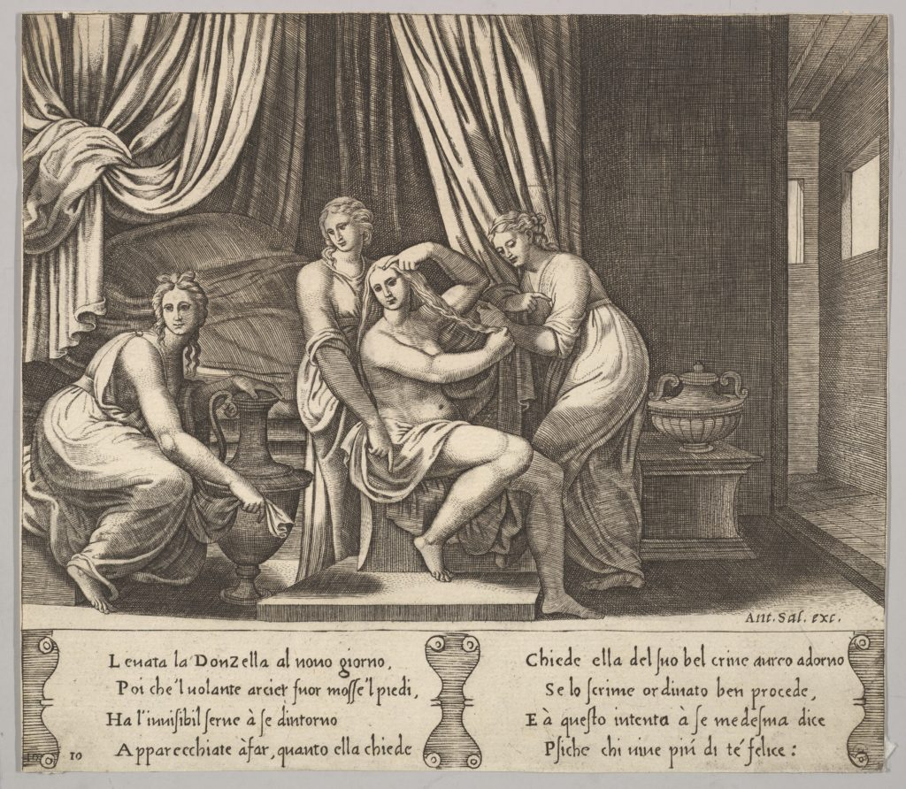 Plate 10: nymphs assisting Psyche to dress her hair, from 'The Fable of Psyche'