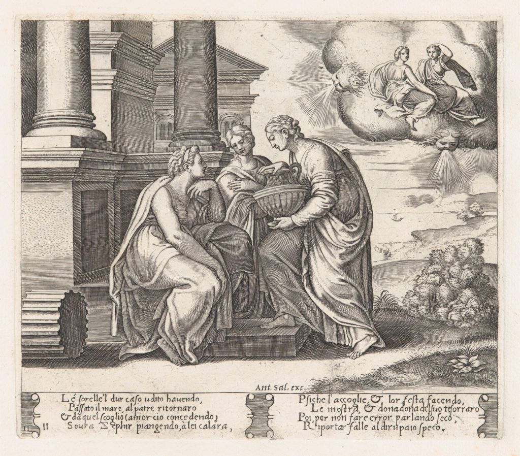Plate 11: Psyche offering presents to her sisters who also appear on the clouds at upper right, from the Story of Cupid and Psyche as told by Apuleius