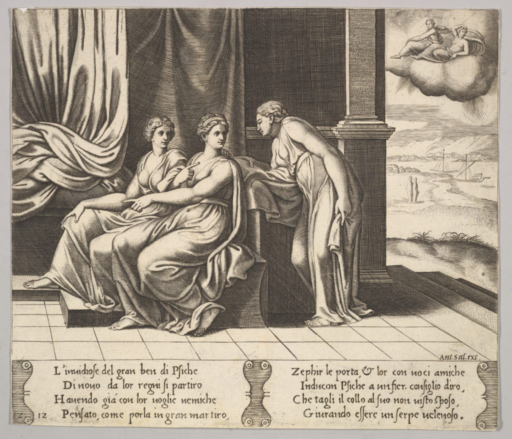 Plate 12: Psyche's sisters persuade her a serpent is sleeping with her, from 'The Fable of Psyche'