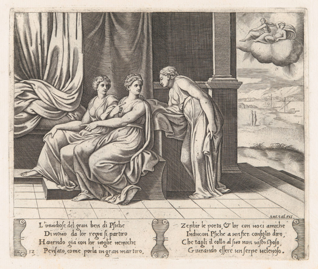 Plate 12: Psyche's sisters persuading Psyche that she has been sleeping with a serpent, from the Story of Cupid and Psyche as told by Apuleius