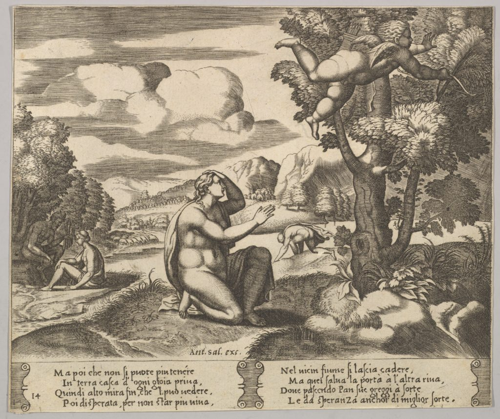 Plate 14: Cupid airborne gleeing from Psyche, from 'The Fable of Psyche'
