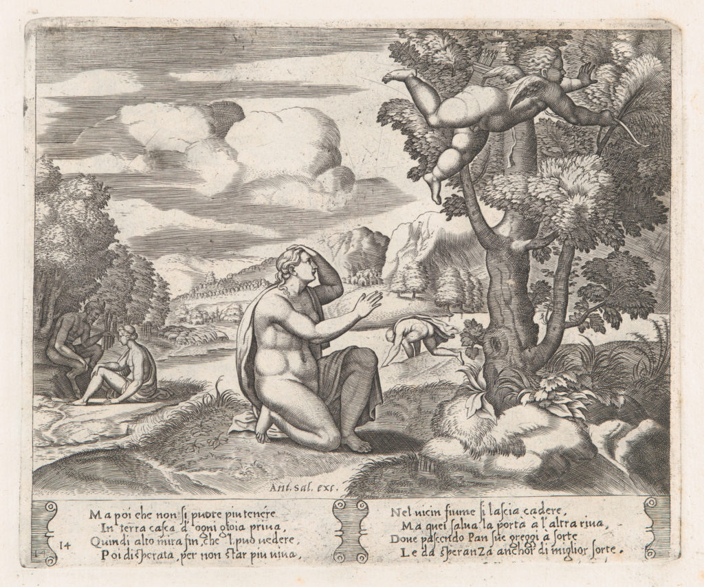 Plate 14: Psyche kneeling in the foreground as Cupid flees from her, from the Story of Cupid and Psyche as told by Apuleius