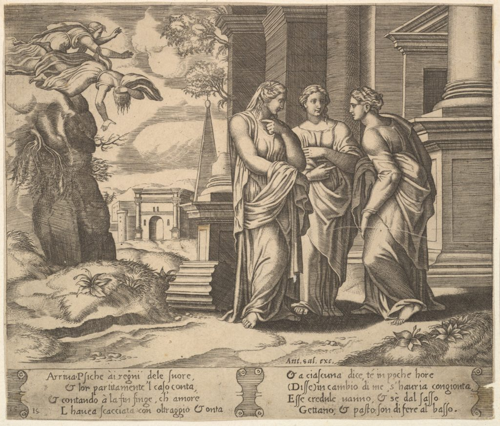 Plate 15: Psyche relating her misfortunes to her sisters, from The Fable of Psyche