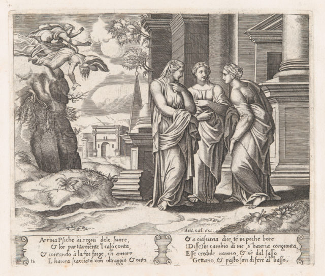 Plate 15: Psyche telling her sisters about her misfortunes, with her sisters falling off of a precipice at upper left, from the Story of Cupid and Psyche as told by Apuleius