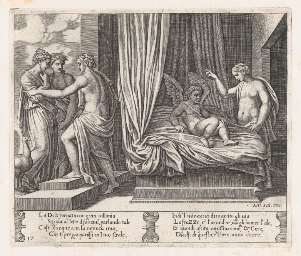 Plate 17: Venus chastising Cupid, who sits on a bed, with Psyche at right, from the Story of Cupid and Psyche as told by Apuleius