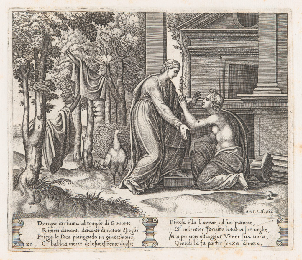 Plate 20: Juno, standing at left, sends away Psyche, who kneels before her, from the Story of Cupid and Psyche as told by Apuleius