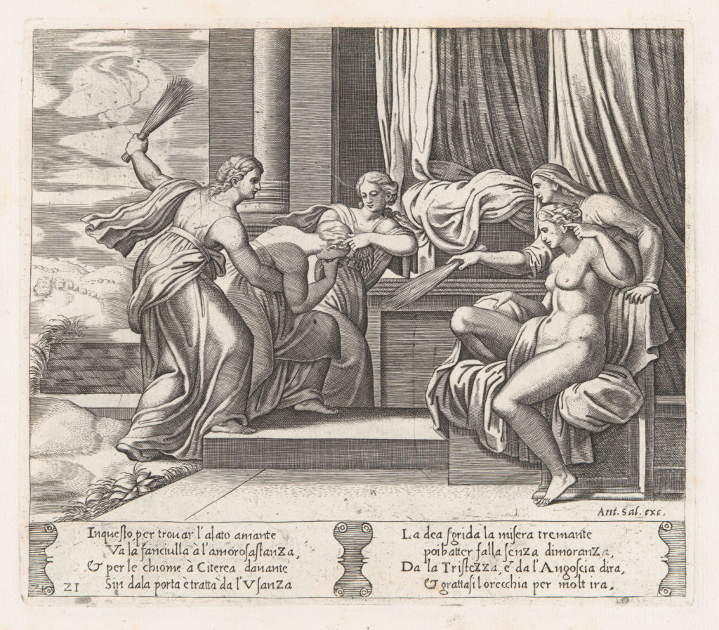 Plate 21: Female personifications of Sorrow and Pain at right punishing Psyche at the behest of Venus, who sits at right, from the Story of Cupid and Psyche as told by Apuleius