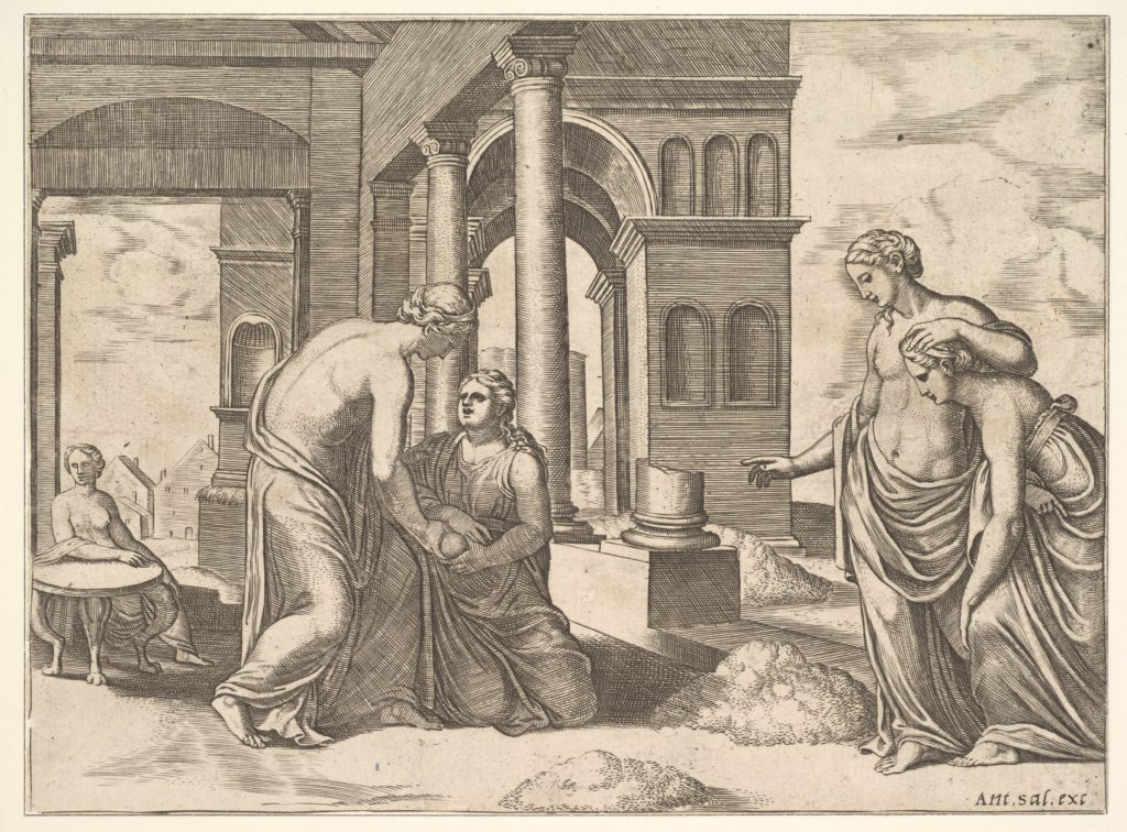 Plate 22: Venus ordering Psyche to Sosort a heap of grain, from the 'Fable of Psyche'
