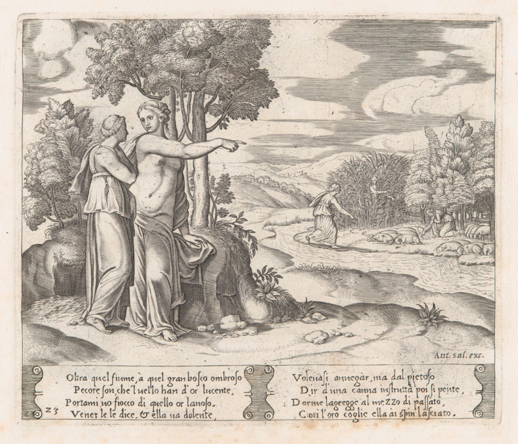 Plate 23: Psyche on the order of Venus departing to find the golden fleece, from the Story of Cupid and Psyche as told by Apuleius