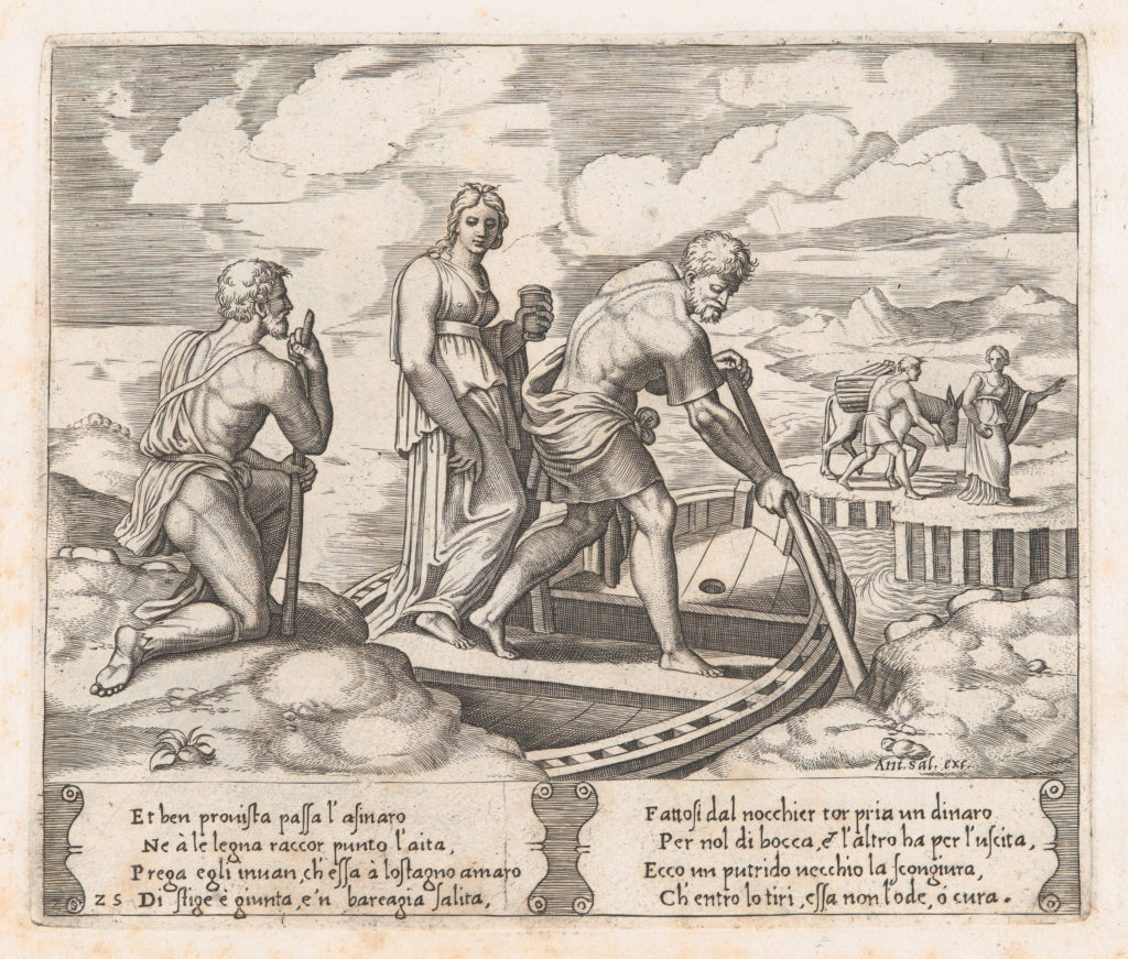 Plate 25: Psyche setting off in Charon's boat, ignoring the old man at left who requests alms, from the Story of Cupid and Psyche as told by Apuleius