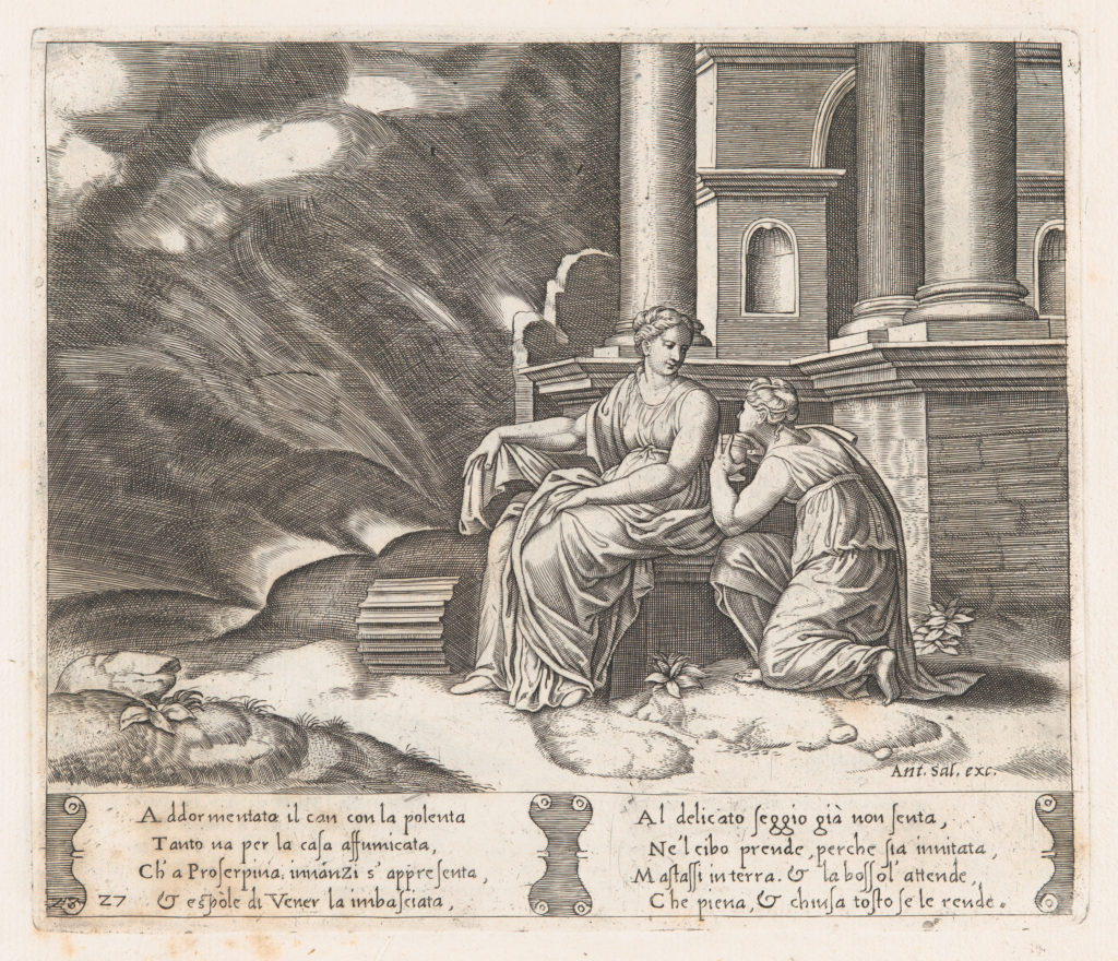 Plate 27: Proserpine give Psyche the box of beauty, from the Story of Cupid and Psyche as told by Apuleius