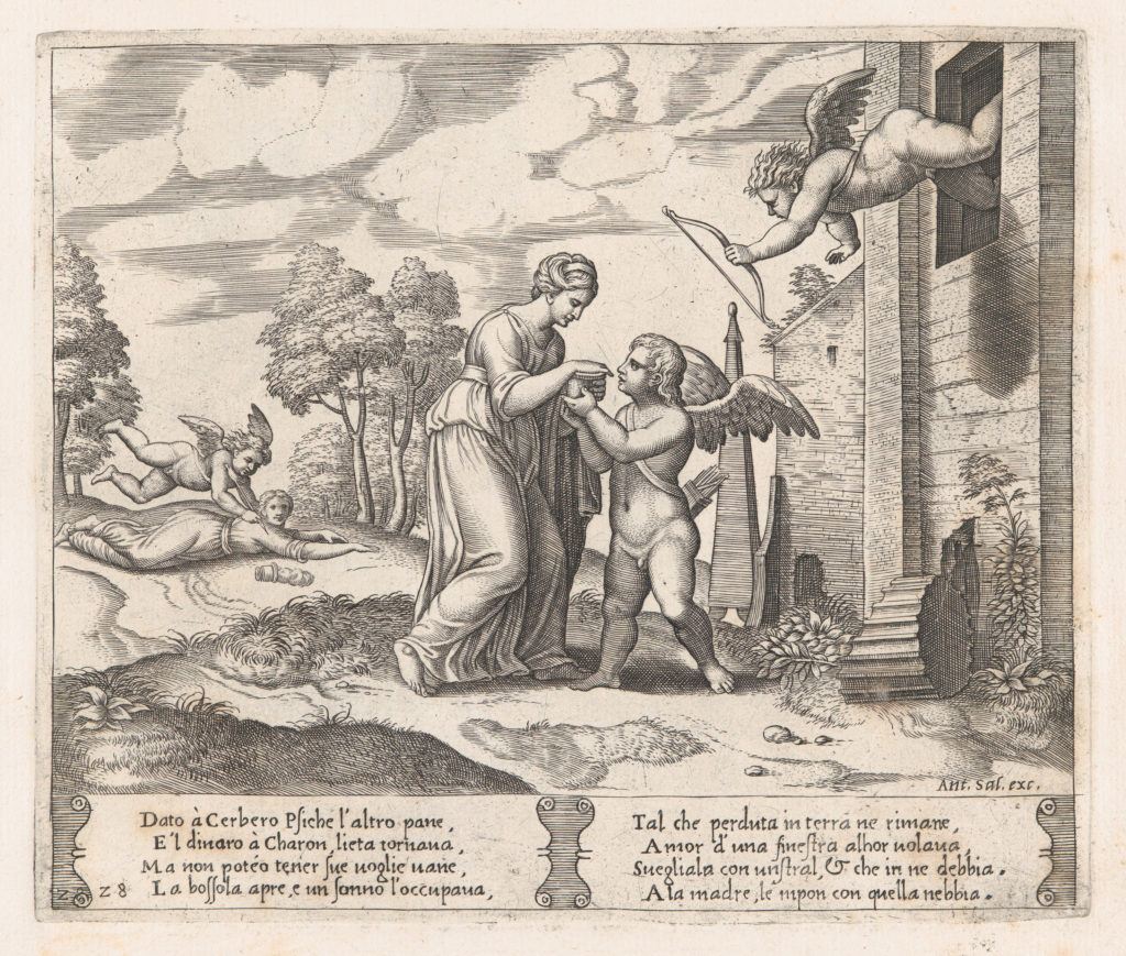 Plate 28: Psyche, wanting to appear more beautiful opens the box, as Cupid arrives in the upper right, and at left his arrow pierces Psyche, who has fallen to the ground, from the Story of Cupid and Psyche as told by Apuleius