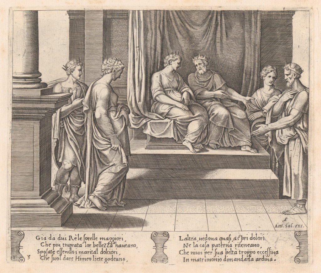 Plate 3: Psyche's two sisters are married to kings, with Psyche standing at left, accompanied by another king, from the Story of Cupid and Psyche as told by Apuleius