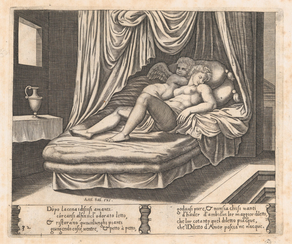Plate 32: Cupid and Psyche in the nuptial bed, from the Story of Cupid and Psyche as told by Apuleius