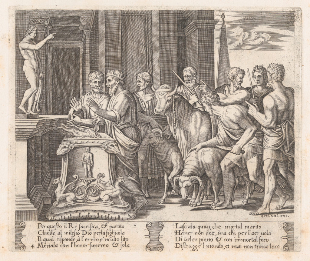Plate 4: Psyche's father consulting the Oracle, accompanied by another king, from the Story of Cupid and Psyche as told by Apuleius