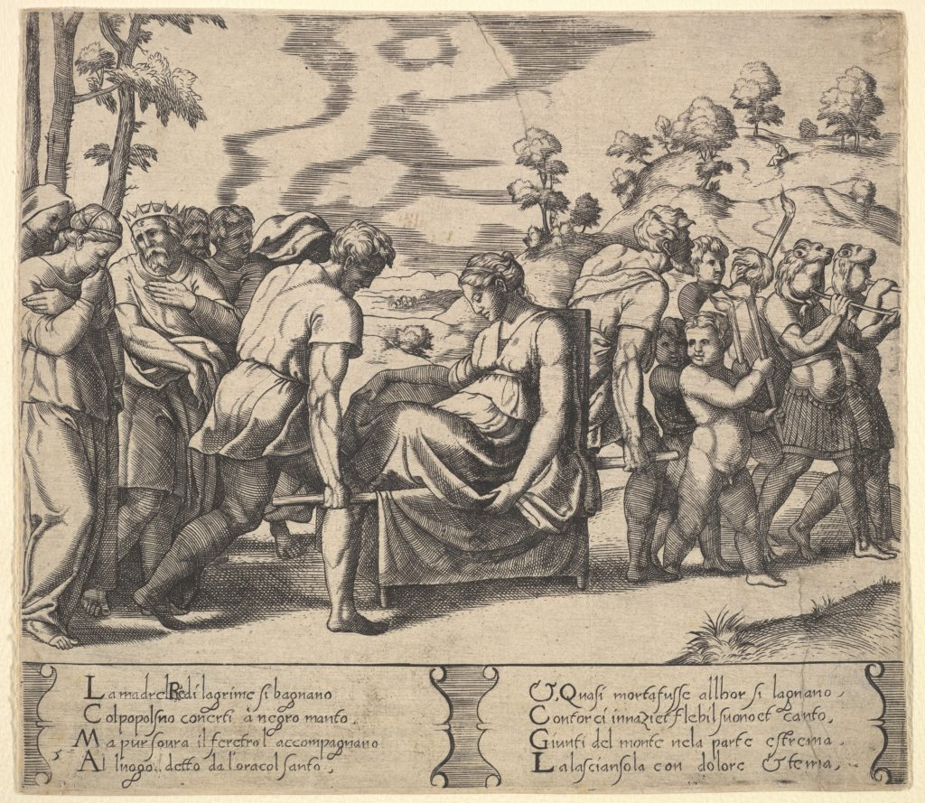Plate 5: Psyche carried on a litter, from the 'Fable of Cupd and Psyche'