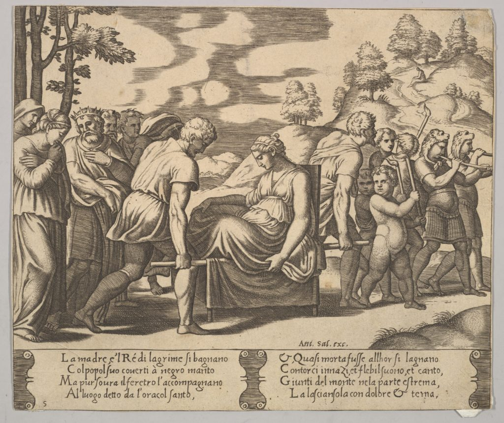 Plate 5: Psyche carried on a litter to a mountain, from 'The Fable of Psyche'