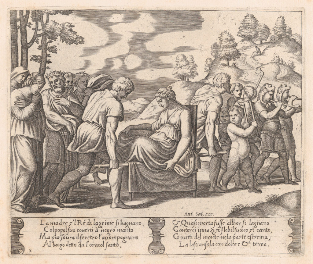 Plate 5: Psyche, seated, being taken to a mountain with a musical troupe lead the way, from the Story of Cupid and Psyche as told by Apuleius