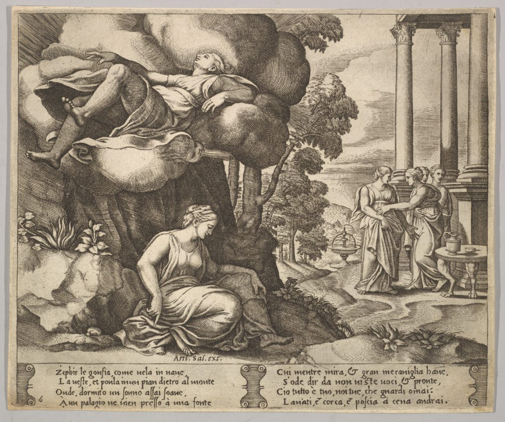 Plate 6: Zephir carrying off Psyche to an enchanted palace, from 'The Fable of Psyche'