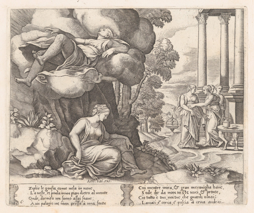 Plate 6: Zephyr carrying Psyche to an enchanted palace, from the Story of Cupid and Psyche as told by Apuleius