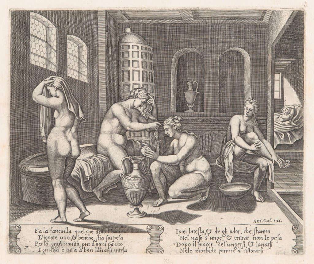 Plate 7: Psyche attended in her bath, from the Story of Cupid and Psyche as told by Apuleius