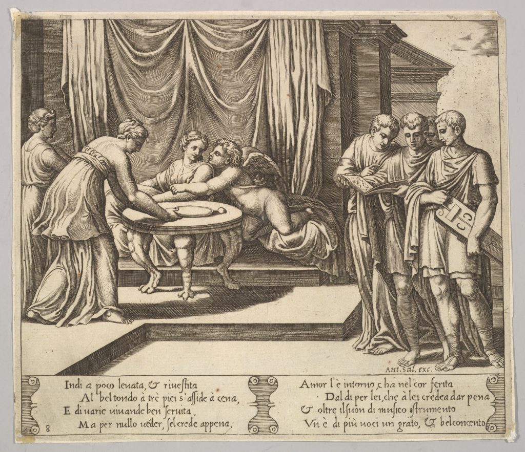 Plate 8: Psyche seated at a table and attended by invisible servants, Eros beside the goddess, from 'The Fable of Cupid and Psyche.'