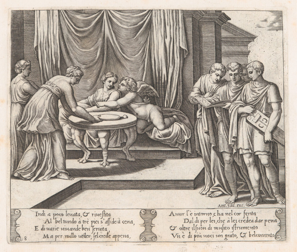 Plate 8:  Psyche seated at a table attended by invisible servants, as Cupid rests his head on her shoulder, at right four men standing singing from an open book, one playing a lute, from the Story of Cupid and Psyche as told by Apuleius