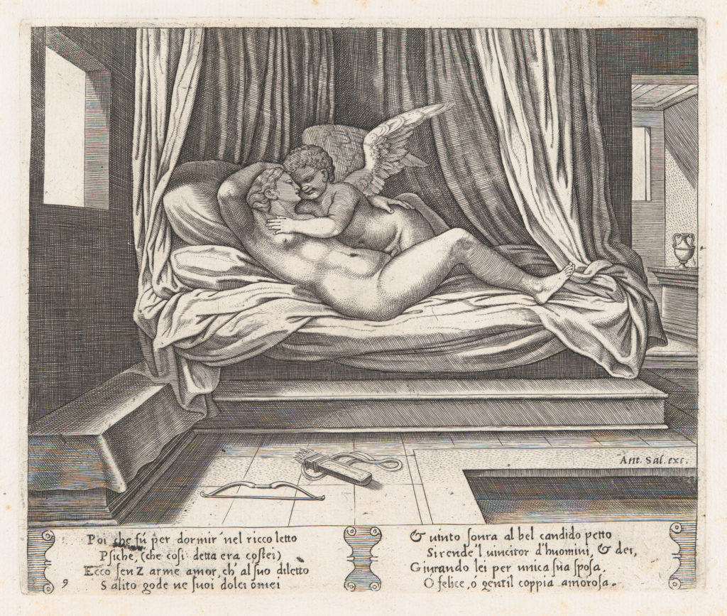 Plate 9: Cupid and Psyche on a bed, from the Story of Cupid and Psyche as told by Apuleius