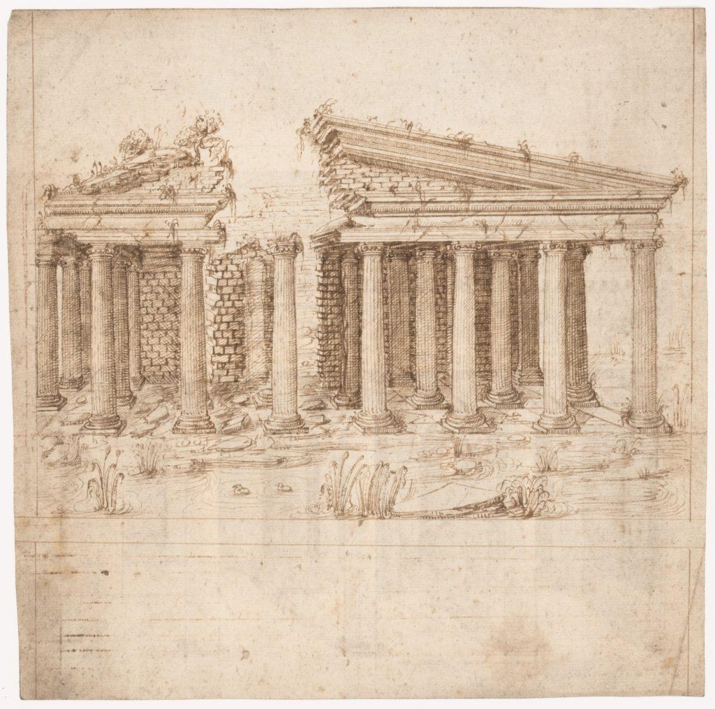 Recto: Front Elevation of a Roman Temple in Ruins (inspired by Giuliano da Sangallo); Verso: Elevation of the Nave of a Roman Basilica in Ruins (? the Basilica Giulia, inspired by Giuliano da Sangallo).