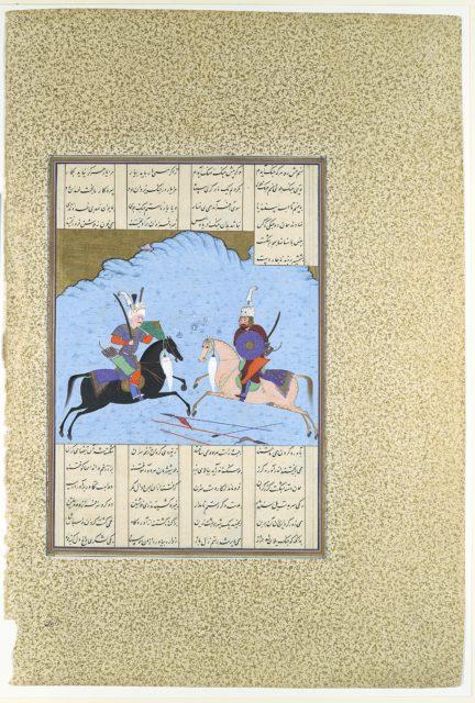 """Rustam and Isfandiyar Begin Their Combat"", Folio 461v from the Shahnama (Book of Kings) of Shah Tahmasp"