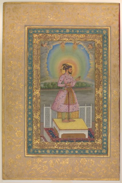 """""""Shah Jahan on a Terrace, Holding a Pendant Set With His Portrait"""", Folio from the Shah Jahan Album"""