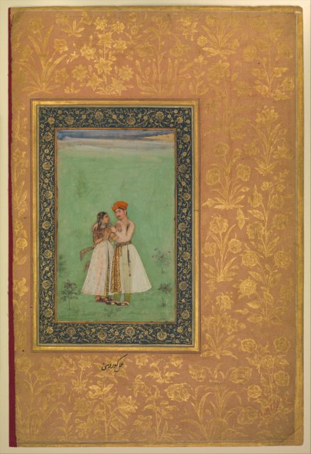 """""""Shah Shuja with a Beloved"""", Folio from the Shah Jahan Album"""