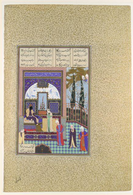 """Siyavush Stands Accused by Sudaba before Kai Kavus"", Folio 163v from the Shahnama (Book of Kings) of Shah Tahmasp"