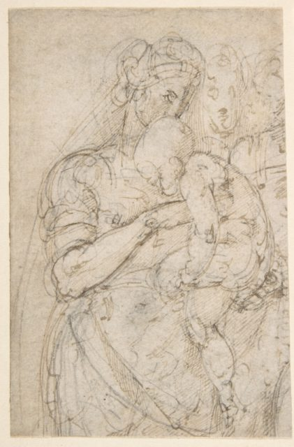 Standing Virgin with Child, Two Heads at Upper Right (recto); Sketch of Steps (verso)