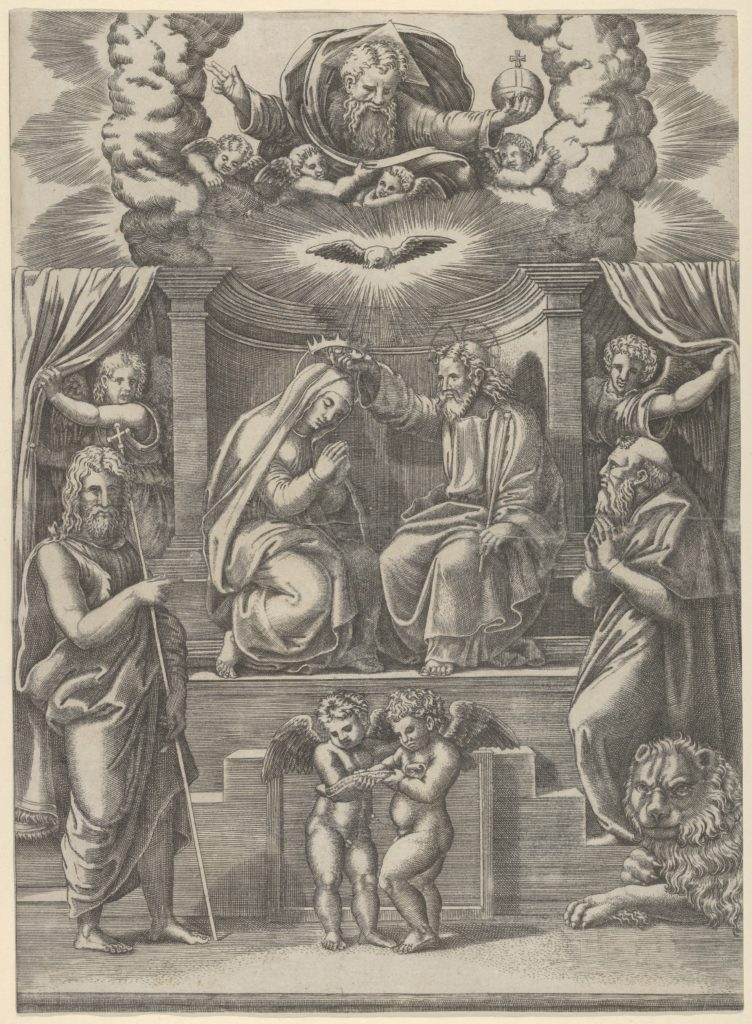 The coronation of the Virgin, God the Father above, St Jerome lower right and St John the Baptist lower left