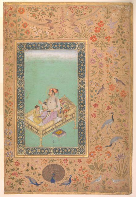 """The Emperor Shah Jahan with his Son Dara Shikoh"", Folio from the Shah Jahan Album"