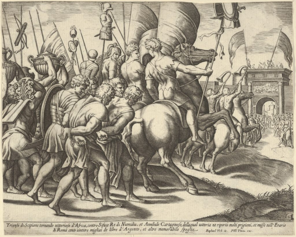 The Triumph of Scipio who rides on a horse followed by captured slaves