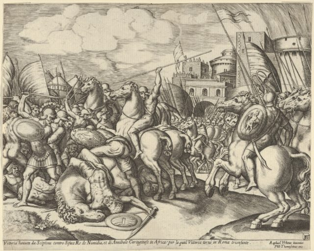 The victory of Scipio over Syphax