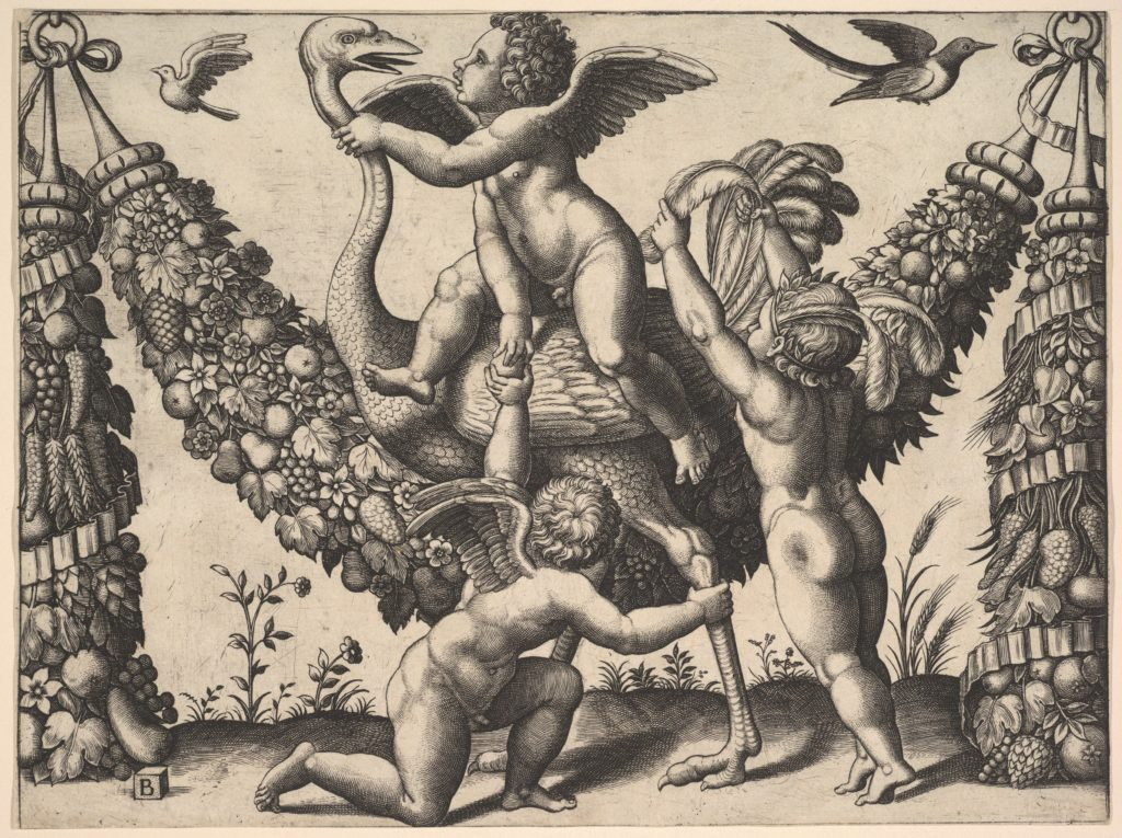 Three putti before a large garland, the one in the middle rides an ostrich, from a series of tapestries made for Leo X