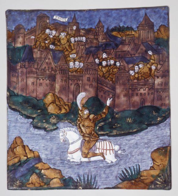 Turnus, Overwhelmed by the Trojans, Crosses the River to Return to His Companions (Aeneid, Book IX)