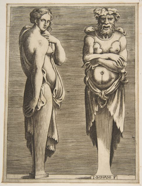 Two Terms, a Nymph at left Silvanus at right