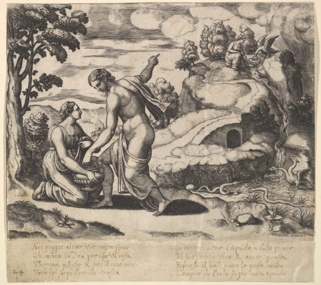 Venus ordering Psyche to take water from a fountain guarded by dragons, from the 'Fable of Cupd and Psyche'