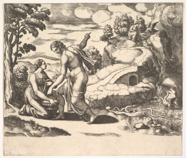 Venus ordering Psyche to take water from a fountain guarded by dragons, from 'Fable of Cupd and Psyche'