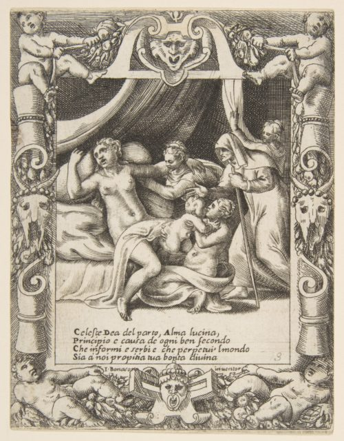 A woman in labor imploring the aid of Lucina set within a decorative cartouche, from the 'Loves, Rages and Jealousies of Juno'